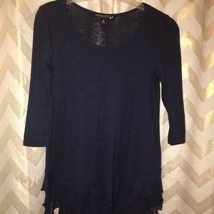 Living Doll Navy 3/4 sleeve top